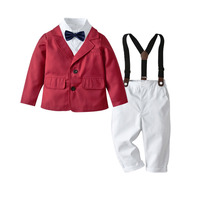 Baby Boys Formal Suit Toddler Gentleman Set Kids Wedding Party Gift Outfit Infant Long Sleeve Blouse Coat Overall Tie 4pcs Suits