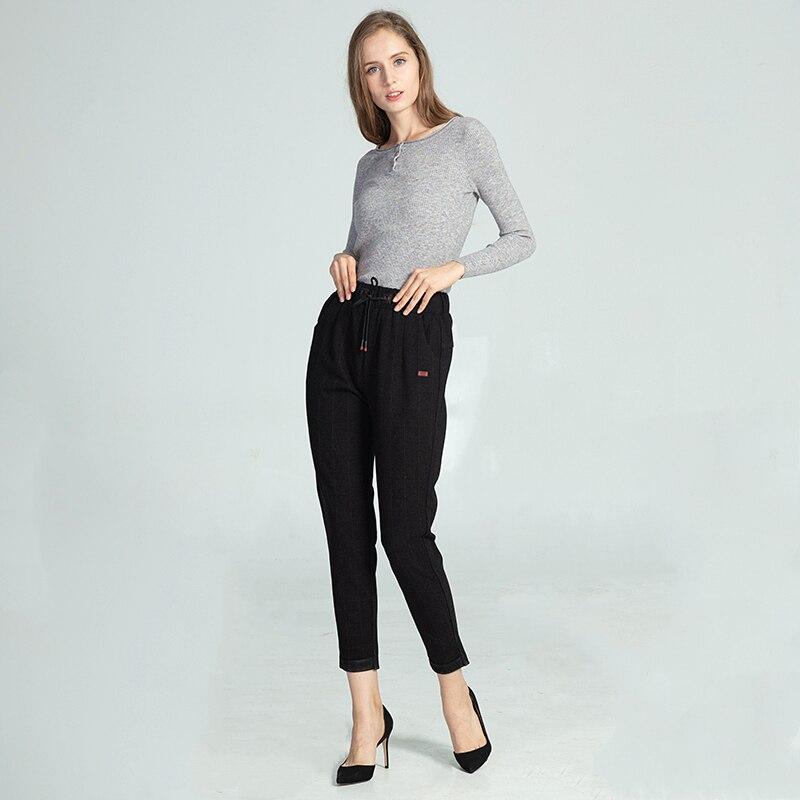 Marwin, зимние, плотные, с манжетами, для ног, в тонкую полоску, Peg брюки, модная одежда для отдыха, брюки с высокой талией, новые, повседневные, эл...