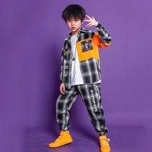 Новинка; Детские костюмы в стиле хип хоп; рубашка клетку с длинными