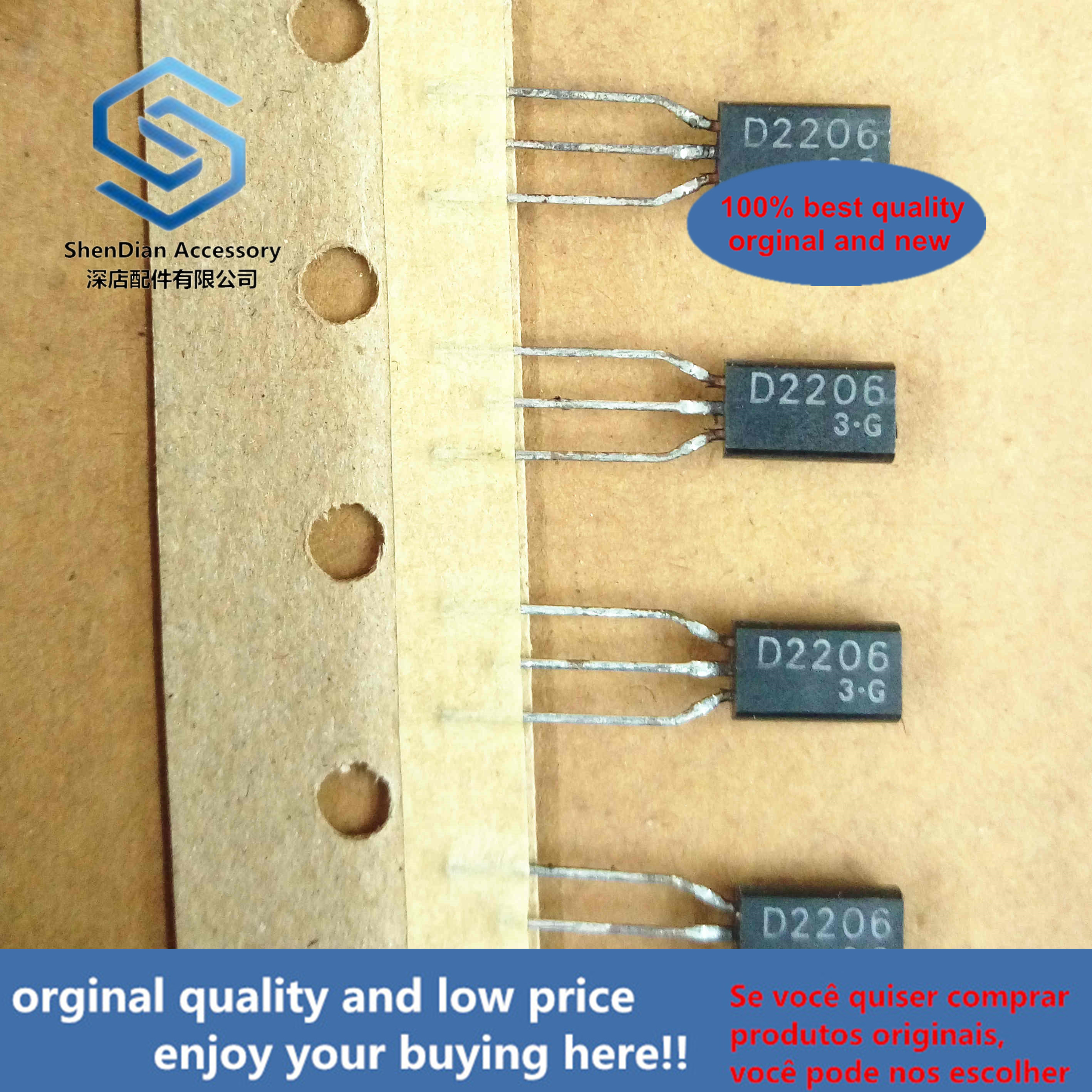 10pcs 100% Orginal New 2SD2206 D2206 100V3A0.9W TO-92L Silicon NPN Epitaxial Type (Darlington Power Transistor) Real Photo