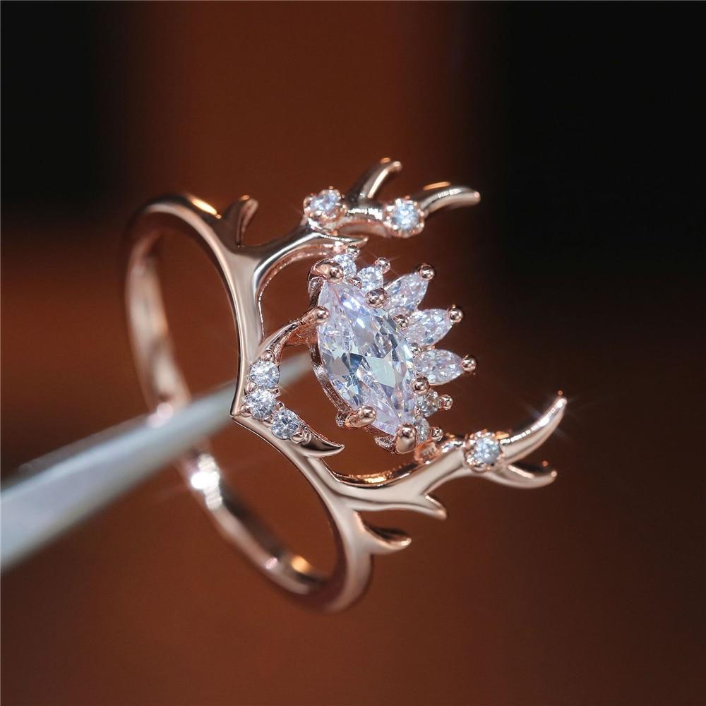Женские кольца Loredana, модное блестящее и полупрозрачное кольцо с цирконием, украшенное милым розовым золотом, оленем, рогами, цирконием, обру...