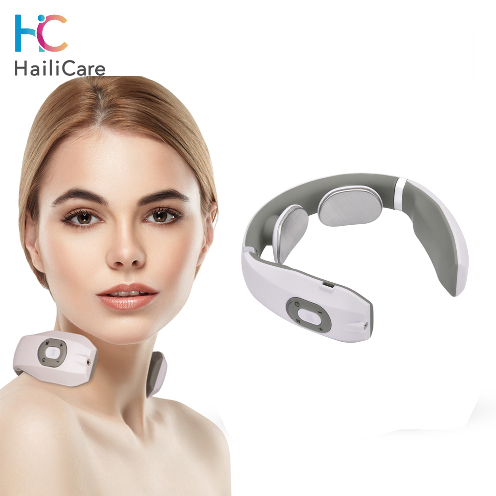 USB Rechargable Pulse Neck Massager Far Infrared Heating Pain Relief Health Care Relaxation Device Intelligent Cervical Massager