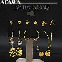 купить 6 Pair 2019 Fashion Stainless Steel Hoop Earrings Set for Women Gold Color Circle Earrings Jewelry pendientes de aro E612877 по цене 309.37 рублей