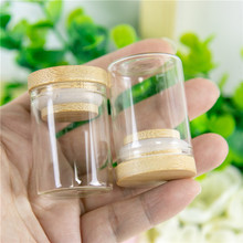 15ML Glass Jars Bottles Bamboo Stopper Ornaments DIY Containers Mini Bottles For jewellery Accessories Wedding Christmas Gifts