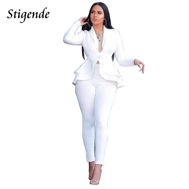 Stigende Women Casual Blazer Suit Set Elegant 2 Piece Suit Set Top And Pants Fashion Sexy Bodycon Cascading Ruffle Two Piece Set