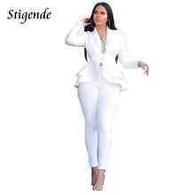 Stigende Women Casual Blazer Suit Set Elegant 2 Piece