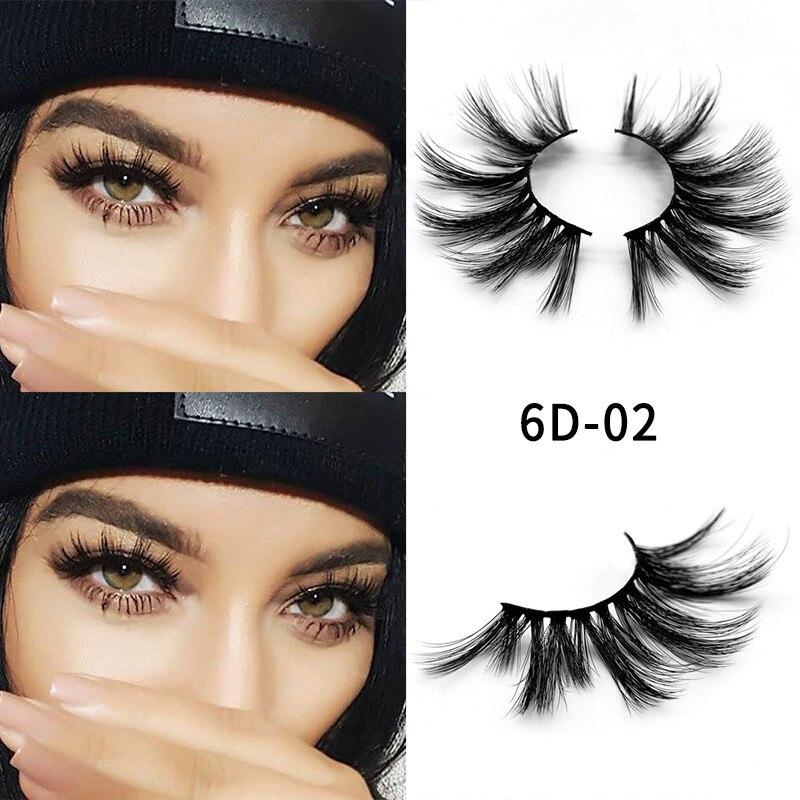 1 Pair 6d Eyelash 25 Mm Mink Eyelashes 5d Lashes 100% Mink Eyelashes Wholesale Long Eyelashes Crisscross 1 Box Makeup