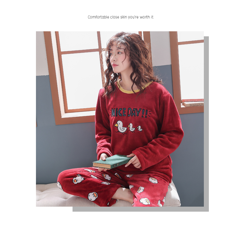 Long Sleeve Warm Flannel Pajamas Winter Women Pajama Sets Print Thicken Sleepwear Pyjamas Plus Size 3XL 4XL 5XL 85kg Nightwear 361