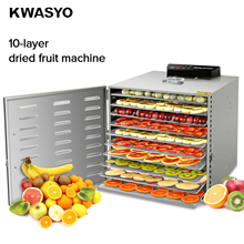 Free shipping 10 layers Stainless Steel Dehydrator Drying Pet Food Dried Fruit Machine Fruit and Vegetable Dehydration Air Dryer stainless steel dry fruit machine pet food dehydrator machine vegetable dryer drying machine 6 trays zf