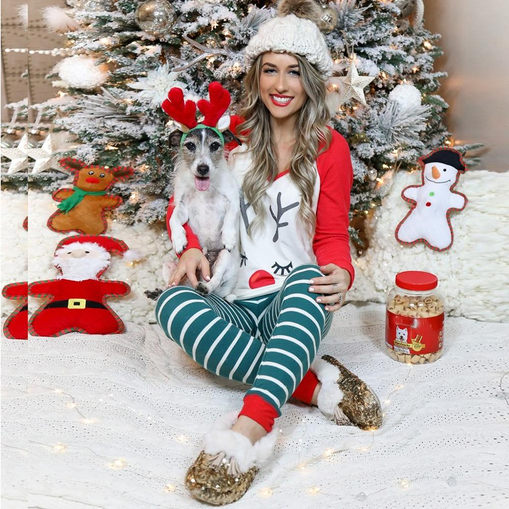 2019 Fashion Women Christmas Stripe Elk Pajamas Set Women Sleepwear Casual Nightwear Suit Top+Pant Pijama Mujer Home Clothes