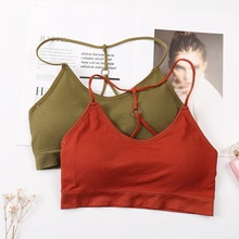 Strappy Halter Tank Tops Female Camisole Sexy Women Hollow Bra Crop Top NS fashion plunging neck strappy ruffles tank top for women