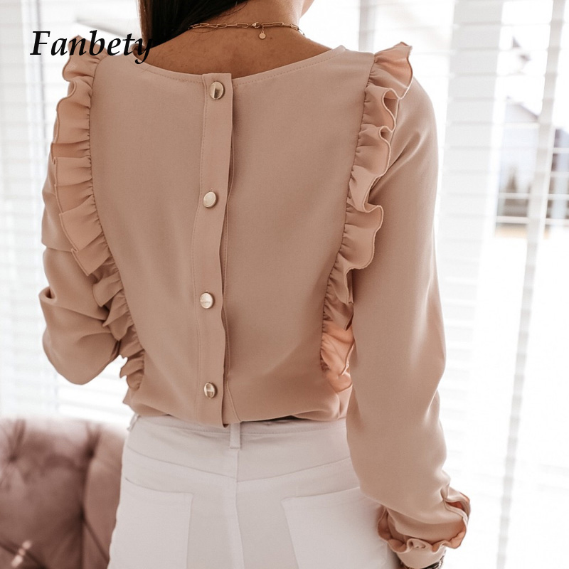 Women 2020 Spring Solid Ruffle   Blouse     Shirt   Office Lady Back Metal Buttons pullover tops Summer Casual O-Neck Long Sleeve Blusa