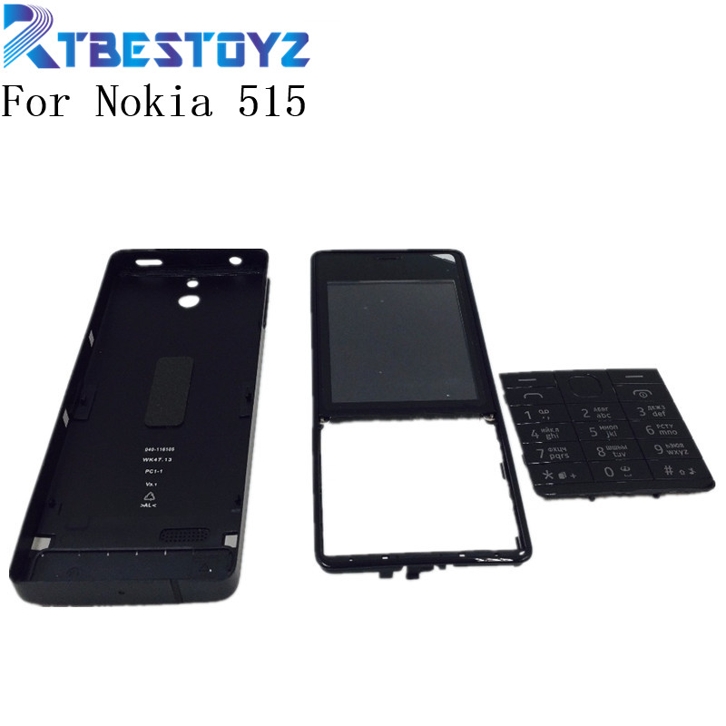 RTBESTOYZ New Front Frame +Battery Door Back Cover + Front Glass Lens For Nokia 515 RM-952 With Volume Button+English Keyboard