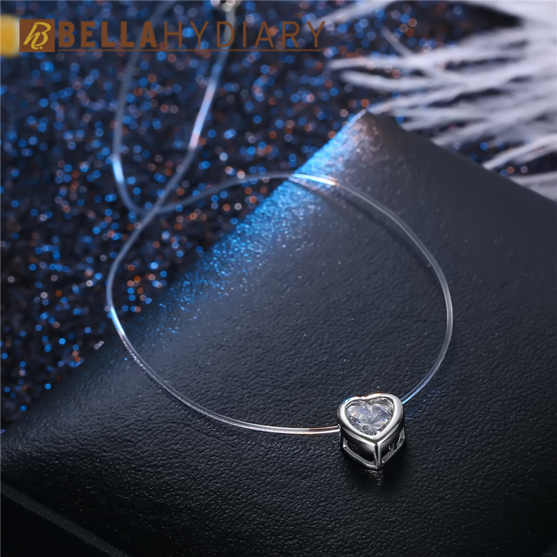 Bijoux Women Chocker Invisible Chain Transparent Fishing Line Heart Necklace Crystal Rhinestone Choker Necklace Pendant On Line