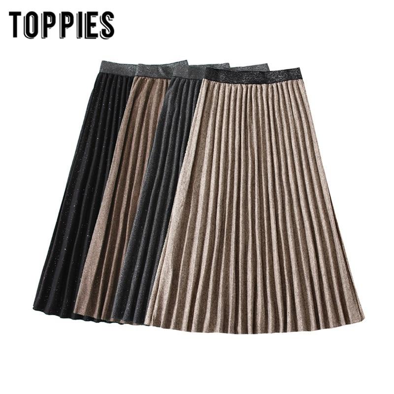 Vintage Pleated Skirts 2020 Spring Woolen Skirts Womens High Waist A-line Faldas Streetwear