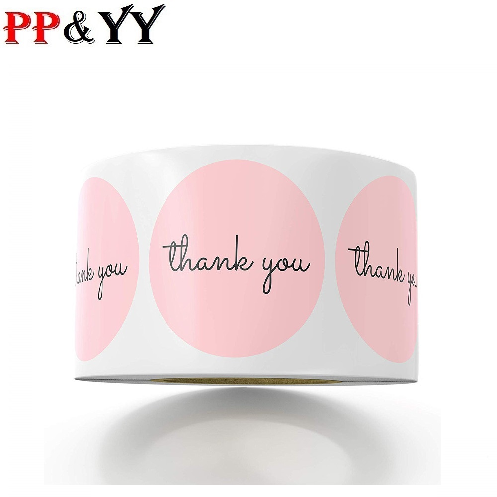 500pcs Thank You Stickers 1inch Pink Stickers For Company Giveaway & Birthday Party Favors Labels & Mailing Supplies Festival