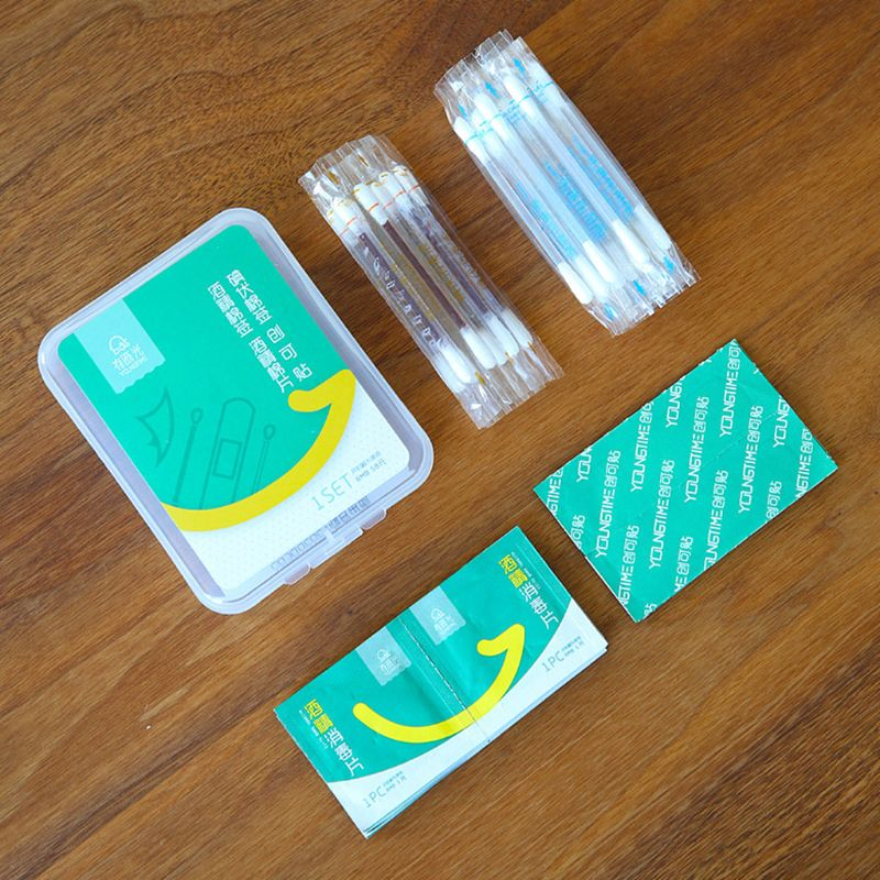 4 In 1 Disposable Small Wound Emergency First Aid Supplies Kit Iodine Swab Alcohol Cotton Stick Wipes Adhesive Bandage Portable