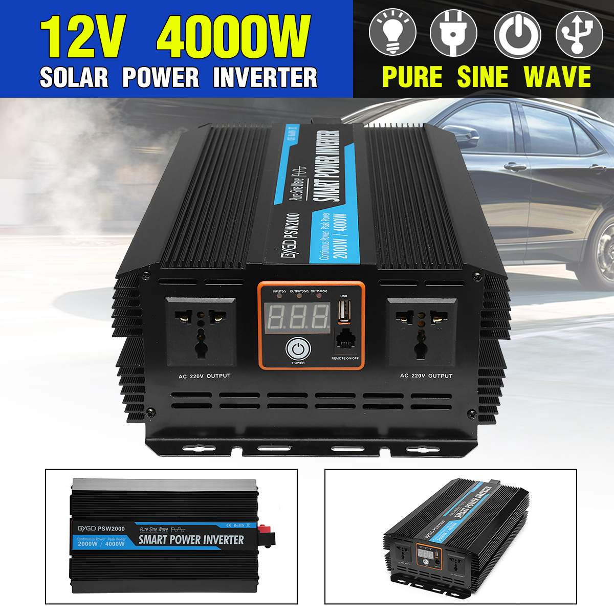 <font><b>Inverter</b></font> <font><b>12V</b></font> 220V <font><b>4000W</b></font> Voltage Transformer Pure Sine Wave Power <font><b>Inverter</b></font> Adapter DC12V to AC 220V Converter + LED Display image