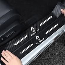 4pcs 자동차 도어 스티커 씰 플레이트 탄소 섬유 가죽 자동차 페인트 보호 르노 Dacia Sandero 튜닝 자동차 액세서리
