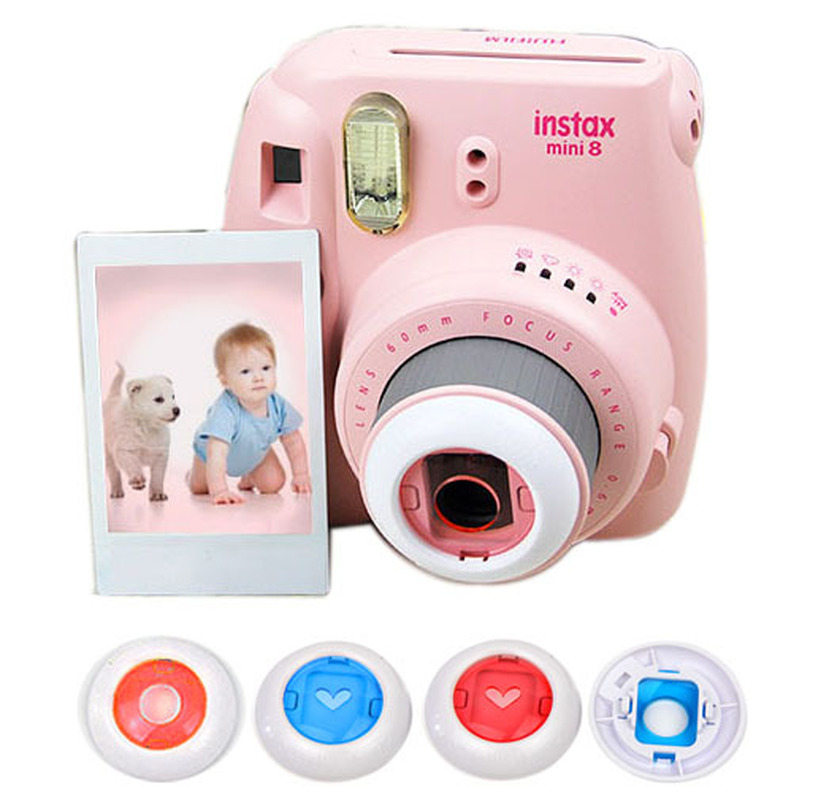 4pcs 1pack Fujifilm Instax Mini 8 7S 8+ Kitty Instant Camera Colorful Filters Round Heart Shape Hollow Out Close Up Lens Camera image