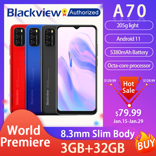 """Blackview A70 Android 11 Smartphone 6.517"""" Display SC9863 Octa Core 3GB ROM+32GB ROM 5380mAh 13MP Rear Camera 4G Mobile Phone 1"""