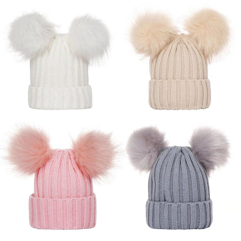 Baby Hat Beanie Cap Pompom Winter Boy Girl Hat Kids Warm Knitted Toddler Cap NEW