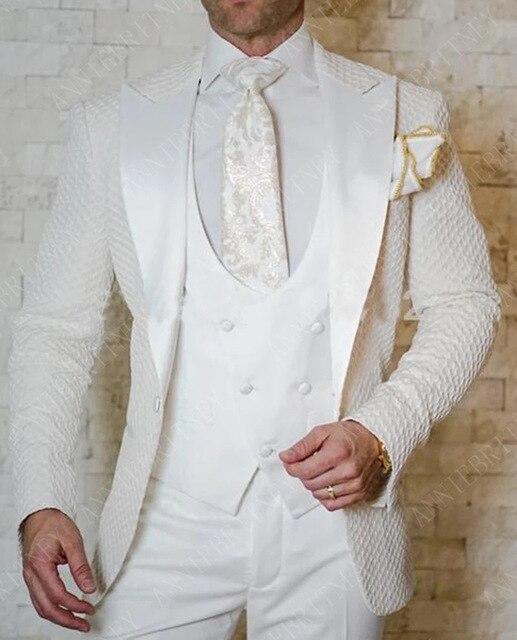 Slim Wedding Suits for Men white Jacquard ANNIEBRITNEY Men's Suits Groom Tuxedos Tailored Big Size Prom Jacket Pants Vest 3Pcs