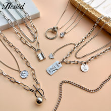 Metal Multilayer Lock Cubic Zirconia Coins Pendant Necklace Silvery Plated Color Hesiod Chain Type Jewelry Accessories For Women