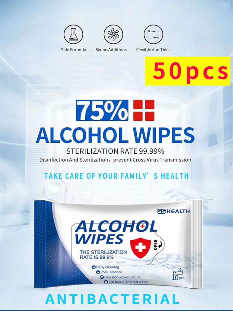 Alcohol Wipes Disinfection Tissue Paper Antiseptic Alcohol Pad Antibacterial Wet Wipes Portable Disinfectant Wipes Sterilization