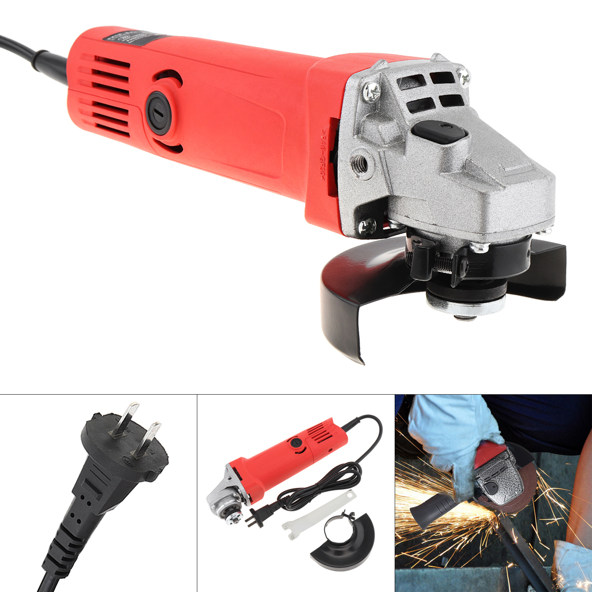 220V 700W 12000rpm Multifunction Electric Angle Grinder With Protective Cover Support 100mm Polishing Disc For Household