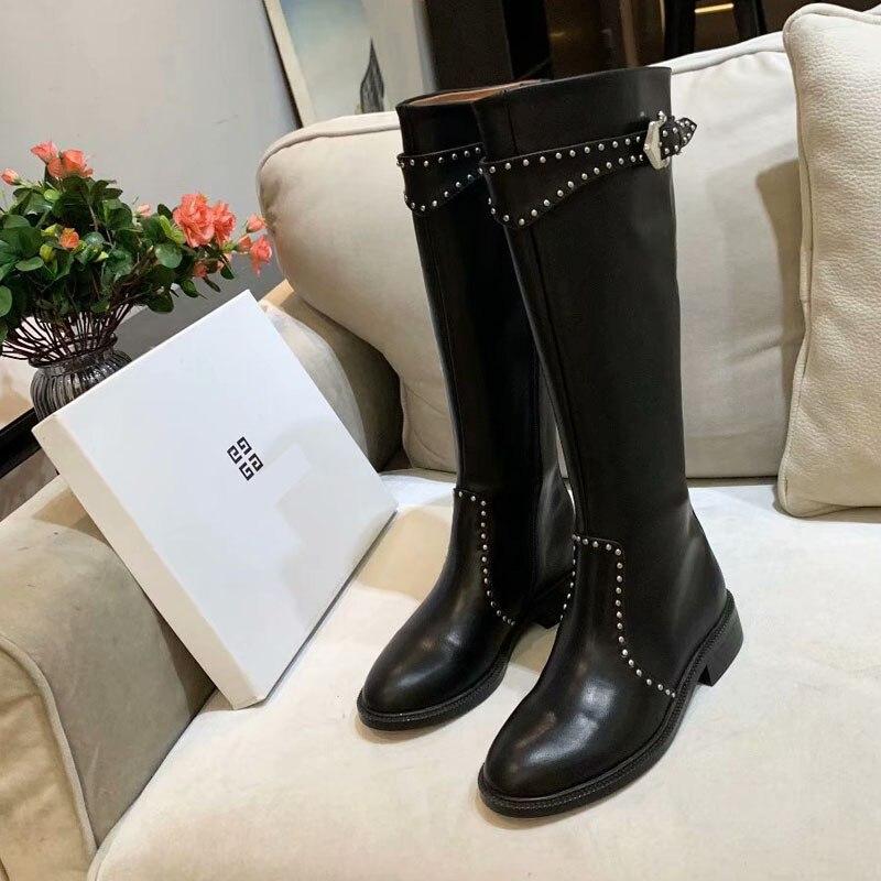 Botas de cuero genuino de alta calidad para mujer, botas de otoño e invierno, botas altas hasta la rodilla, zapatos Martin para mujer