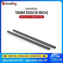 Smallrig preto liga de alumínio 15mm hastes 18 polegadas de comprimento com rosca fêmea m12 inclui tampas de haste m12 (pacote par) 1055