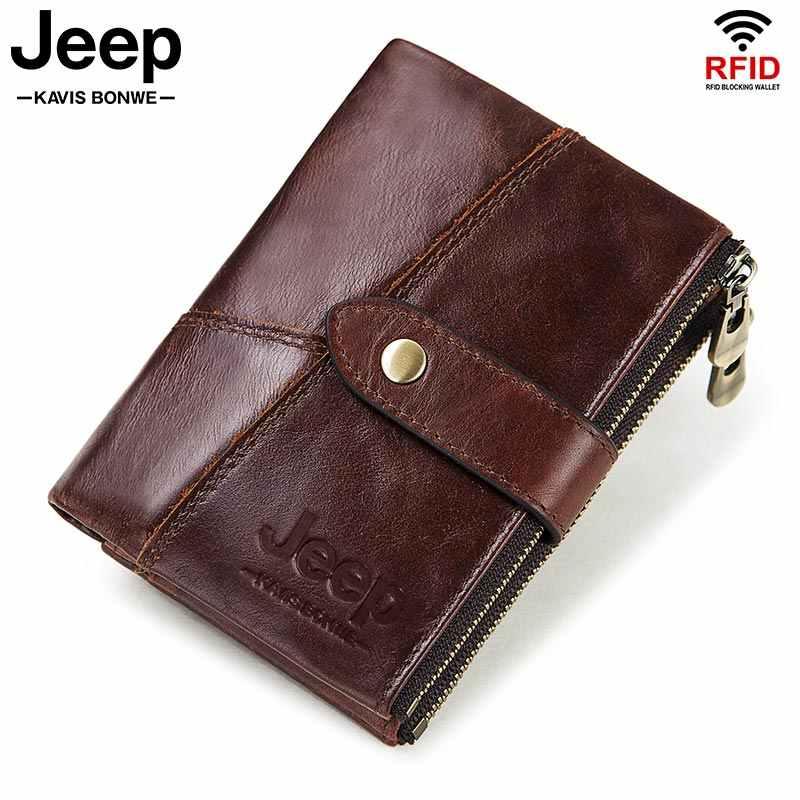RFID หนังแท้ 100% กระเป๋าสตางค์เหรียญ PORTFOLIO ชาย Portomonee เงินกระเป๋าคุณภาพ Designer ฟรีแกะสลักกระเป๋าสตางค์