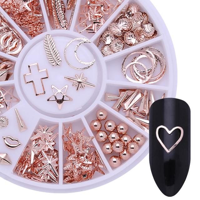 1 Box 3D Nail Decoration Metal Studs Gold Plated Manicure Accessoreis Pink White Black 3 Colors DIY Nail Art Decoration
