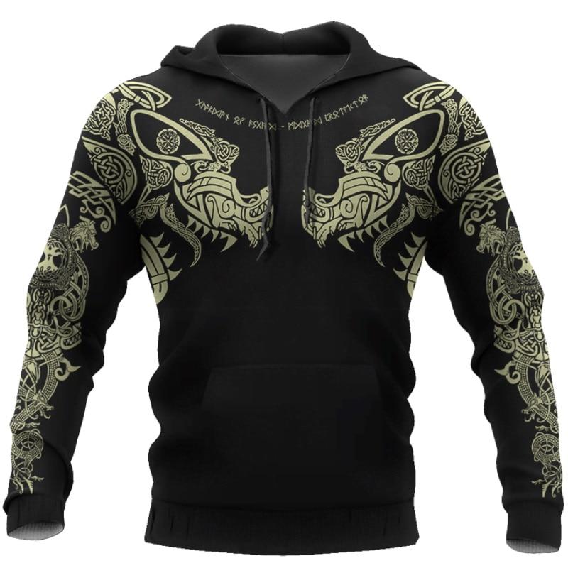 PLstar Cosmos crazy pattern warrior Viking Tattoo 3D Printed Men hoodies Harajuku Hooded Sweatshirt Autumn Fashion hoodie top-16