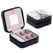 Portable Jewelry Box Ear Nail Earrings Receive with Mirror Cortex Double Layer Small Bag Womens Travel Cosmetic