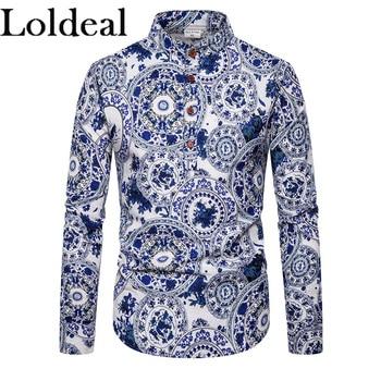 Loldeal Mens Going Out Club Boho/Chinoiserie algodón/Paisley-camisa de lino/Tribal estampado de pie cuello negro