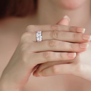 Image 5 - SANTUZZA خاتم فضة للنساء أصيلة 100% 925 فضة زهرة بيضاء خاتم أنيق مجوهرات الأزياء المينا اليدوية