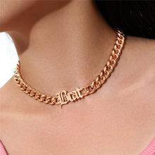 Modyle New Fashion Punk Vintage Letter collane collane a catena spessa Color oro per gioielli da donna all'ingrosso
