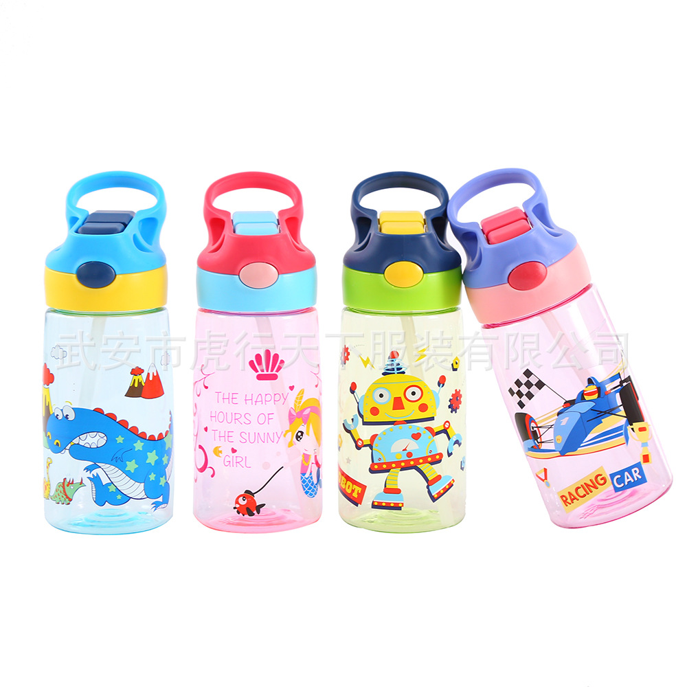 2019 New Style Children Plastic Straw Cup Contigo Glass Cartoon Kindergarten Sippy Cup Sub-Sippy Cup