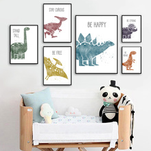Cute Dinosaur Cartoon Animal Quote Nursery Nordic Posters And Prints Wall Art Canvas Painting Wall Pictures Baby Kids Room Decor