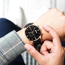 лучшая цена 2019 relogio masculino montres hommes mode Sport boîte en acier inoxydable en cuir bande montre Quartz affaires montre-br