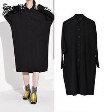 2019 Women Black Striped Split Big Size Shirt Dress New Lapel Long Sleeve Loose Fit Fashion Tide Spring Autumn