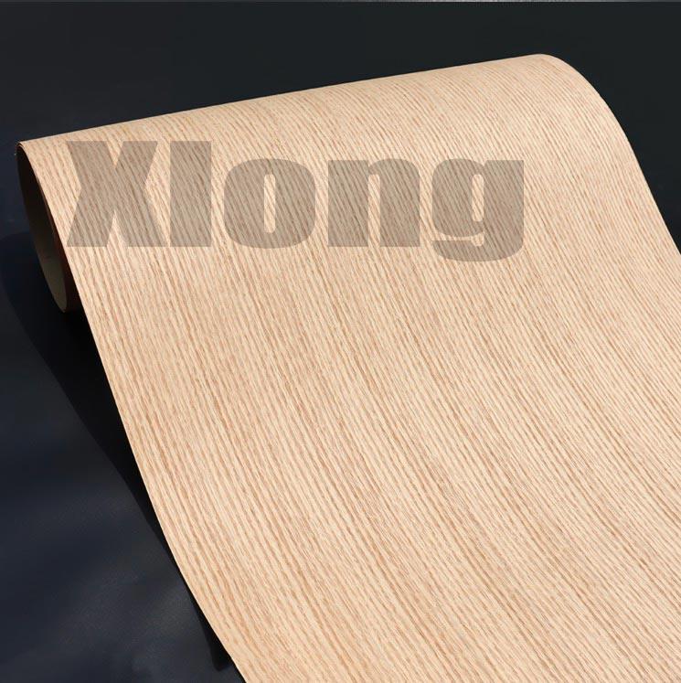 Length: 2.5Meters Thickness:0.3mm Width: 55cm Technological Red Oak Straight Line Wood Veneer Kraft Paper Composite Veneer