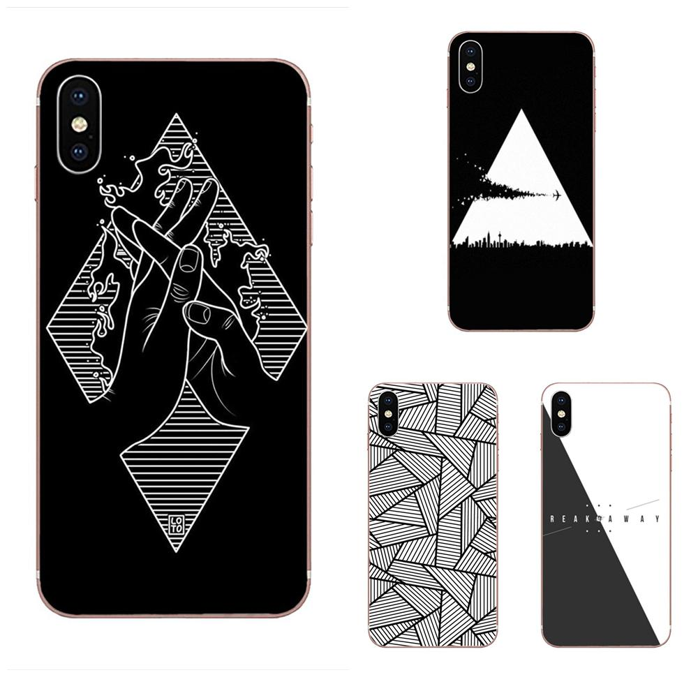 Abstract Black And White Triangle For Xiaomi Redmi Mi 4 7A 9T K20 CC9 CC9e Note 7 9 Y3 SE Pro Prime Go Play Soft TPU Fashion