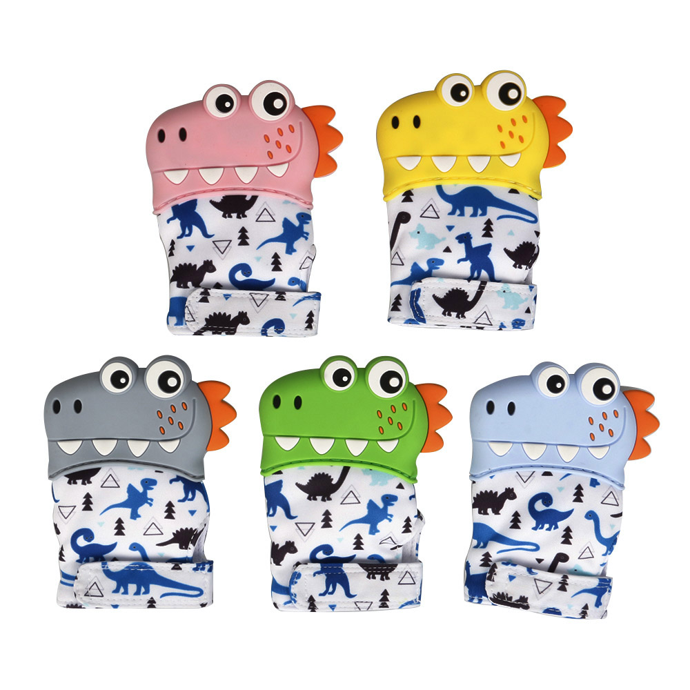 Dinosaur Cartoon Teething Gloves Finger Baby Baby Teether Mittens Silicone Toy Baby Newborn Dental Care Sucking Sound Kids Toys