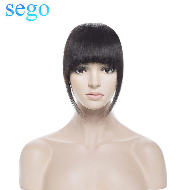 SEGO Straight 3 Clip-in Human Blunt Bangs Sweeping Side Bangs Front Hair Fringes Non-Remy 100% Human Hair  Black Brown Blond 1