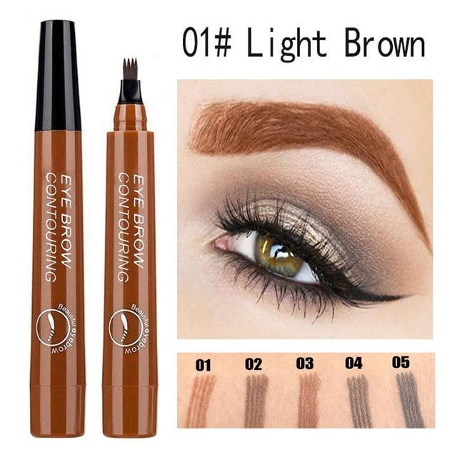 5 Colors Microblading Tattoo Eyebrow Pencil Waterproof Fork Tip 4 Head Fine Sketch Liquid Eyebrow Enhancer Dye Tint Pen TSLM2 1