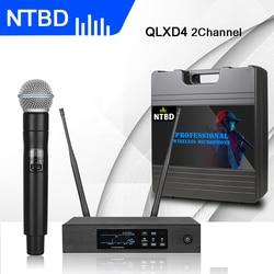 NTBD Home KTV Karaoke Wedding Stage Performance True Diversity UHF QLXD4 Wireless Microphone System Anti-howling Automatic FM