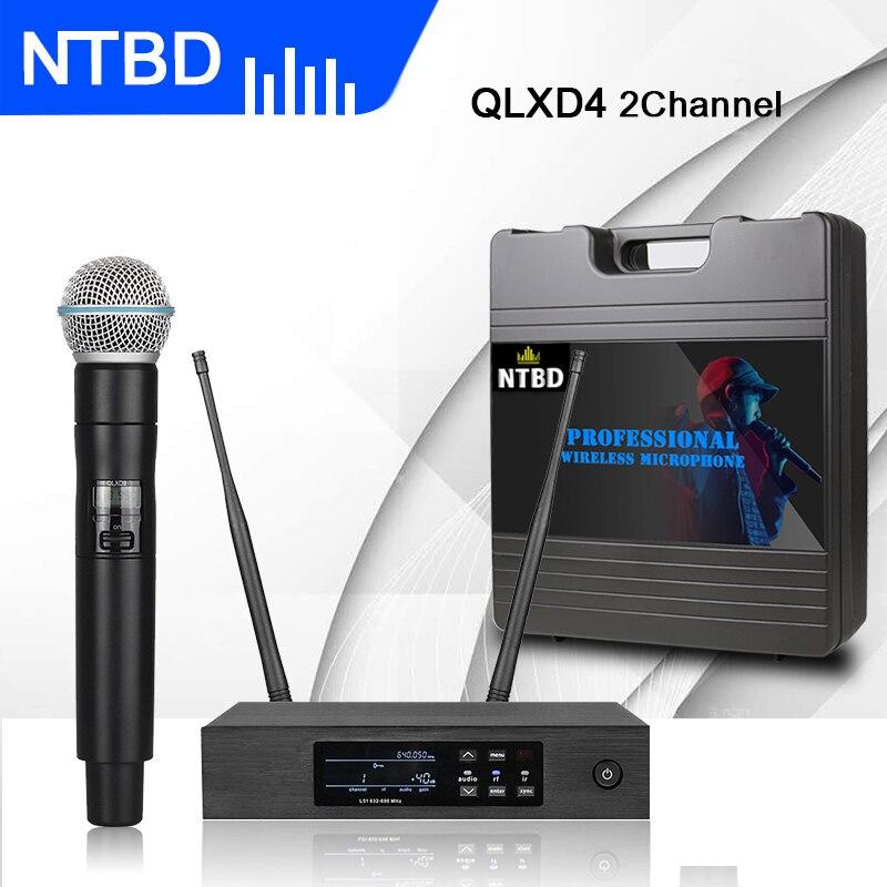 Беспроводной микрофон NTBD для дома, караоке, свадьбы, сценическая производительность, истинное разнообразие, UHF QLXD4, автоматическая FM система с защитой от завывания|Микрофоны|   | АлиЭкспресс
